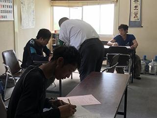 技能実習生筆記試験の様子